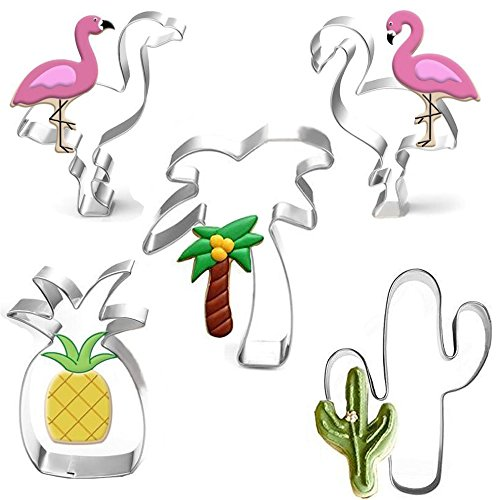 Delicious Pineapple Cake - Tropical Cookie Cutter Set - 2pcs Flamingo And Pineapple Cactus Palm Tree A total of 5 Cookie Cutters