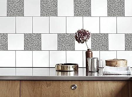Kitchen Tile Stickers Noise Vinyl Film For Bathroom Wall Tile Ideas Different Sizes 16pcs Amazon Co Uk Kitchen Home