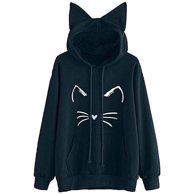 Amazon.com: Blouses for Womens,DaySeventh Womens Cat Ear Solid Long Sleeve Hoodie Sweatshirt Hooded Pullover Tops Blouse: Sports & Outdoors
