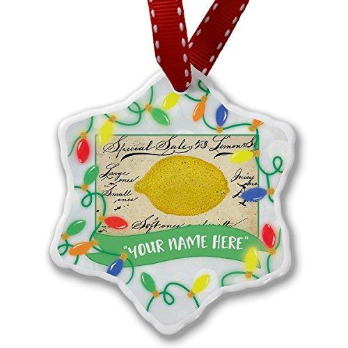 Personalized Name Christmas Ornament, Le citron, lemon, Vintage NEONBLOND ()