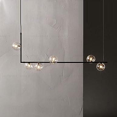 loonju minimalista lámpara de iluminación Barra de cocina luminaria Comedor salón de Iluminación Rosa de Oro Negro araña de hierro forjado, 6 luces longitud de 90 cm, Oro: Amazon.es: Iluminación