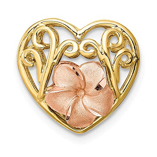 - 14K Tri-color Brushed & Polished D/C Plumeria Heart Chain Slide