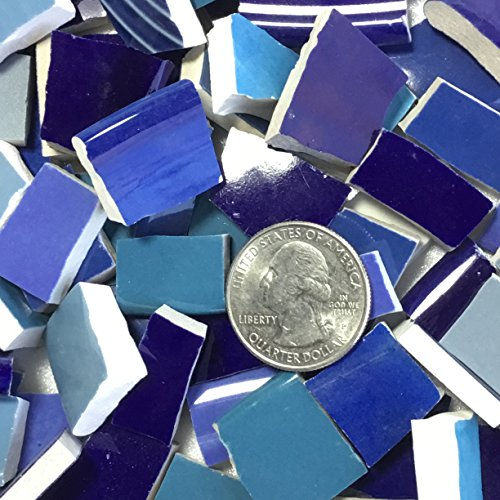 MOSAIC TILE ~ HAND CUT Dish China / Ceramic Pieces ~ Supply for Mosaics Arts & Crafts ~ 100 Shades of Blue Tiles (T#382) ()