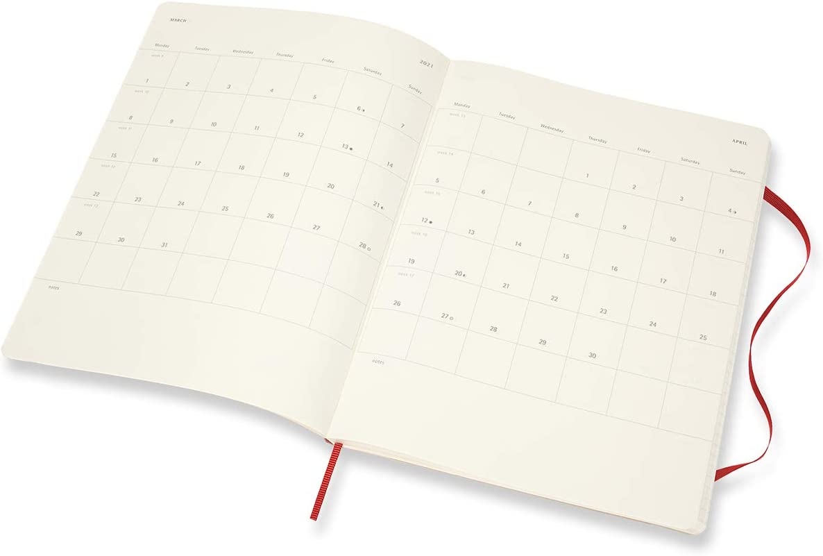 Moleskine 18 Month 2020-2021 Weekly Planner Red 7.5 x 9.5 XL Soft Cover