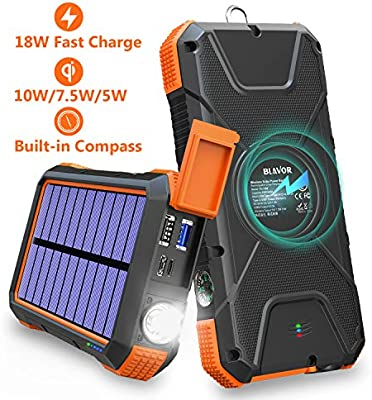 Amazon.com: Cargador solar BLAVOR 18 W, QC 3.0 cargador ...