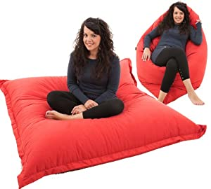 RAVIOLI GIANT   RED Bean Bag Chair Indoor / Outdoor Beanbag Floor Cushion
