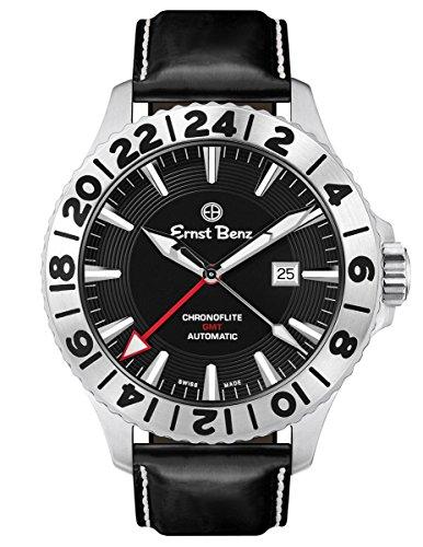 Ernst Benz Chronoflite GMT Automatic Swiss ETA Rotating Bezel Black Dial 47mm Men's Watch (Swiss Eta 2836 2 Automatic)