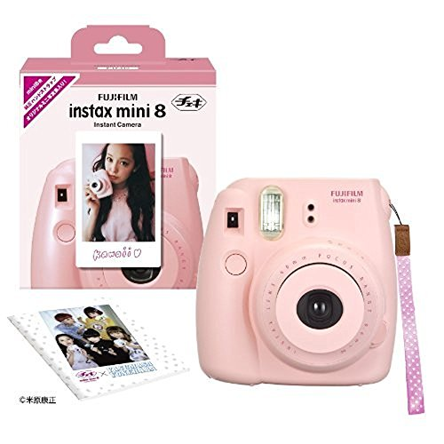 Wood Edition Limited (Fujifilm Fuji Instax Mini 8 N Pink + Original Strap Set Instax Mini 8N Instant C)