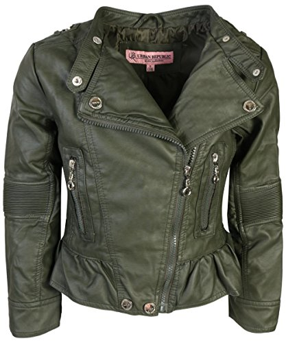 Urban Moto Jacket - Urban Republic Toddler & Big Girls Faux Leather Motorcycle Moto Biker Jacket (6X, Basil Green)'