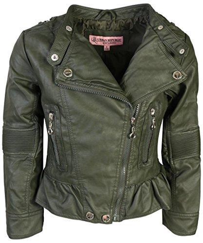 Urban Republic Toddler & Big Girls Faux Leather Motorcycle Moto Biker Jacket (16, Basil ()