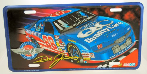 1996 - SME - NASCAR - Robert Yates Rockets - Dale Jarrett #88 - Ford Thunderbird - Quality Care - Metal License Plate - Collectible - Limited Edition - (Robert Yates Racing)