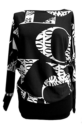 Candy Girl Clothing Love Paris Letters City Vogue Batwing Top (22-24, Black & White)