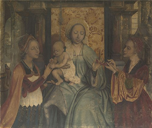 The High Quality Polyster Canvas Of Oil Painting 'Quinten Massys The Virgin And Child With Saints Barbara And Catherine ' ,size: 24 X 28 Inch / 61 X 72 Cm ,this Amazing Art Decorative Prints On Canvas Is Fit For Hallway Artwork And Home Artwork And Gifts