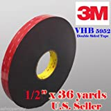 Genuine 3M 1/2'' (12mm) x 108 Ft (36 Yards) VHB Double Sided Foam Adhesive Tape 5952 Grey Automotive Mounting Very High Bond Strong Industrial Grade (1/2'' (w) x 108 ft)