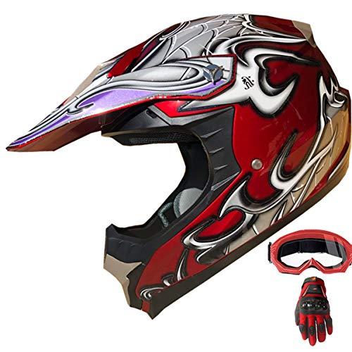 ATV Motocross Dirt Bike Motorcycle Off-road Helmet DOT Approved Full Face MX Mountain Bike Helmet+Goggles+Gloves Combo 407 (129 Red, XL)