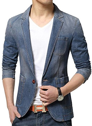 Zago Men's Casual Slim Fitted Button Jeans Blazers Jacket Suit darkblue xl