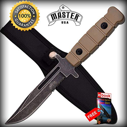 Serrated Desert Tan Full Tang Clip Point Defender SHARP KNIFE Stonewash Blade Combat Tactical Knife + eBOOK by Moon Knives