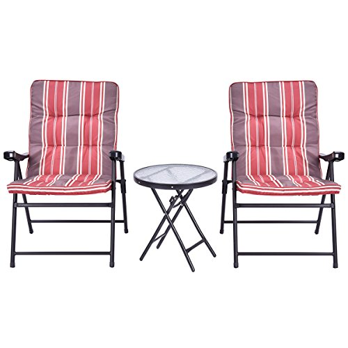 Giantex Patio 3 Pcs Outdoor Folding Chairs Table Set