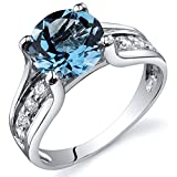 Swiss Blue Topaz Solitaire Style Ring Sterling Silver Rhodium Nickel Finish 2.25 Carats Size 7
