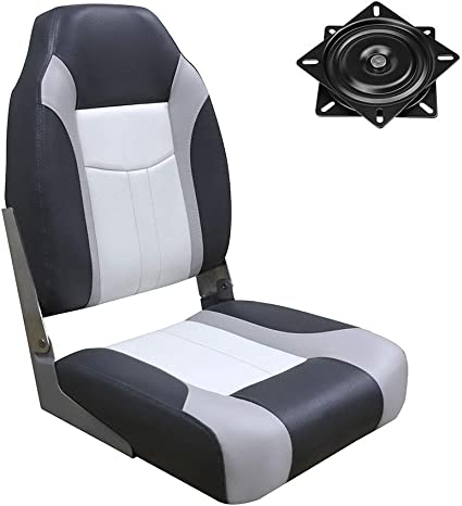 MSC Folding Boat Seat High Back Boat Seat with Seat Swivel 360 Degree Rotation