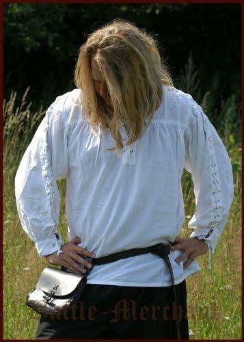 La edad media camisa, camisa de piratas, elaborado en las mangas, fabricada en algodón de colour blanco para la edad media, juegos de rol, de Vikingo