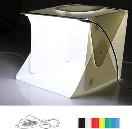 Mini Caja de Luz, Plegable Caja de Luz Fotográfica con 2 LED 6 Teléfonos de Fondo para Estudio Foto Video y Fotografía, 24 x 23 x 22cm: Amazon.es: Electrónica