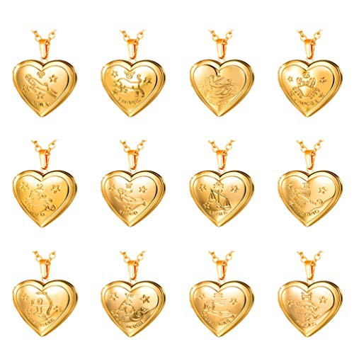 U7 Sagittarius Zodiac Sign Necklace 18K Gold Plated Heart Photo Locket Pendant, Chain ()