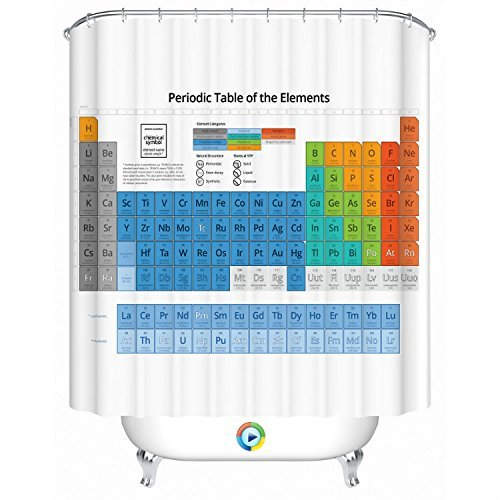Periodic Table of Elements Bathroom Fabric Shower Curtain with 12 Hooks Home Decor Great Gift - Big Bang Theory