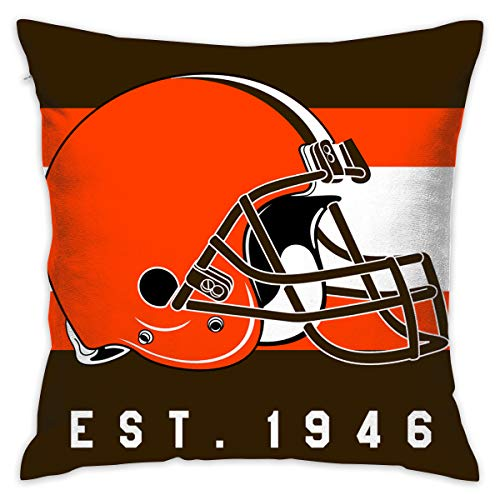 Gdcover Custom Stripe Cleveland Browns Pillow Covers Standard Size Throw Pillow Cases Decorative Cotton Pillowcase Protecter with Zipper - 18x18 Inches (Cleveland Browns Couch)