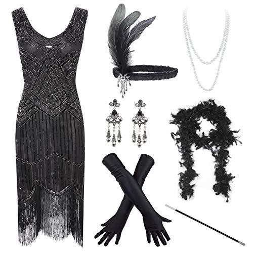 (Women's Vintage 1920s Sequin Beaded Tassels Hem Flapper Dress w/Accessories Set (2X-Large,)