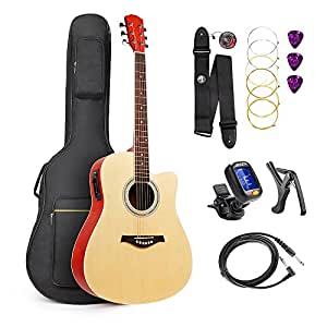 vangoa 41 full size natural acoustic electric cutaway guitar 4 band eq with bag strap. Black Bedroom Furniture Sets. Home Design Ideas
