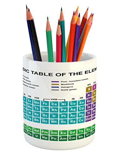 Ambesonne Periodic Table Pencil Pen Holder by, Educational Artwork for Classroom Science Lab Chemistry Club Camp Kids Print, Printed Ceramic Pencil Pen Holder for Desk Office Accessory, (Unique Classroom Themes)