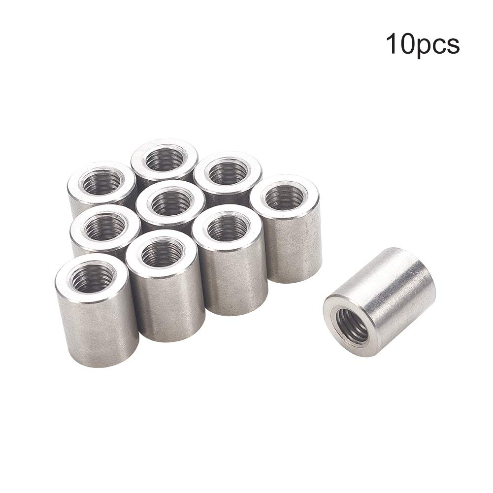 Pack of 10 M6x20mm Height Sleeve Rod bar Stud Nut Stainless Steel 304 uxcell Round Connector Nuts
