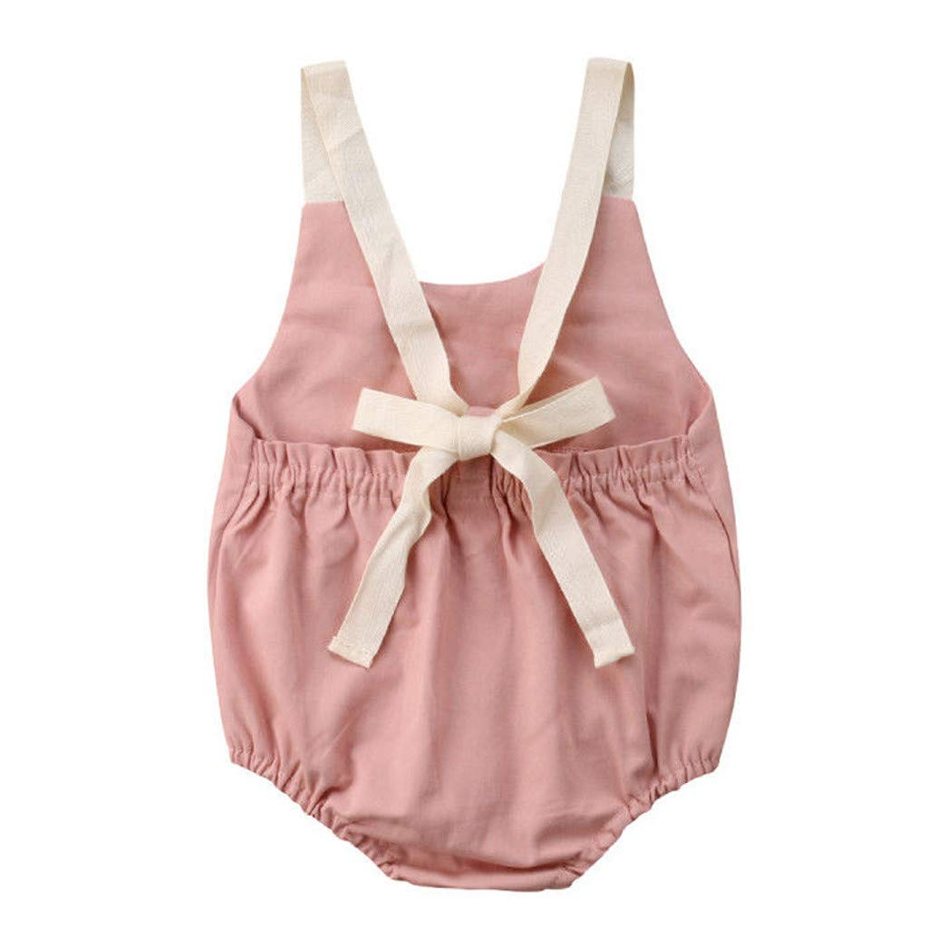 Tronet Newborn Onesies Newborn Infant Baby Girl Bowknot Backless Romper Bodysuit Outfits Clothes Pink