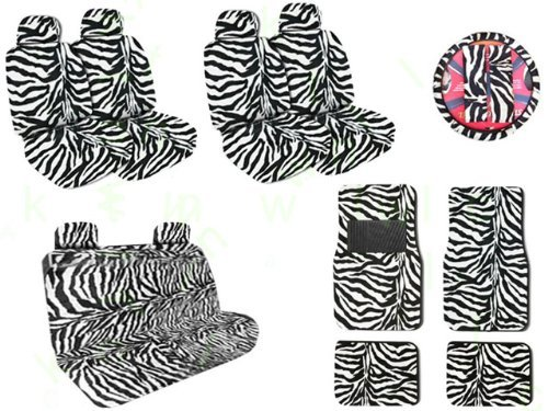 (Complete Safari Zebra Low Back Bucket Car Van SUV Seat Covers, Rear Bench Cover, Steering Wheel Covers Shoulder Pads and Floor Mats Set Total 19 Pieces with Bonus 24 CD Capacity Stylish Wallet)