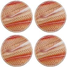 MSD Round Coasters Non-Slip Natural Rubber Desk Coasters design 20749023 Pangasius fillets of raw fish macro shot