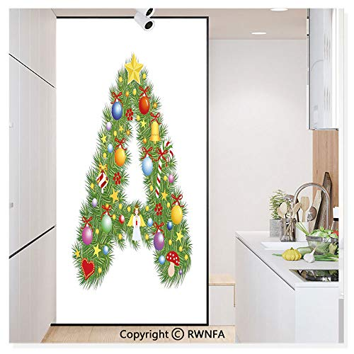 Window Door Sticker Glass Film,Tree Star from Winter Celebrations Praying Angel Mini Stars Letter A Font Concept Anti UV Heat Control Privacy Kitchen Curtains for Glass,30 x 59.8 ()