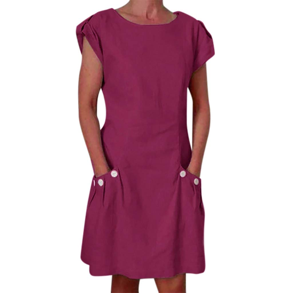 Tantisy ♣↭♣ Women's Tops Summer Short Sleeve O-Neck Midi Dress Swing Pencil Dress Chic Button with Pockets Casual Dress Wine