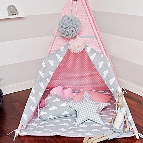 Kinder Tipi Zelt mit 4 Stangen Wimpelkette Bodenmatte,Spielzelt ...