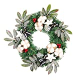 Firlar Christmas Wreath, Merry Christmas Decorated Pine Artificial Flower Garland for Front Door Wall Hanging Decoration Holiday Xmas Party Deor (Green)