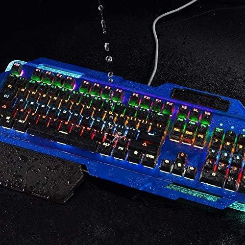 Mechanical Game Computer Keyboard 104 Key Green Axis Mixed Light Keyboard BLWX Computer Eat Chicken USB Interface Wired Keyboard//Metal Matte Blue Panel