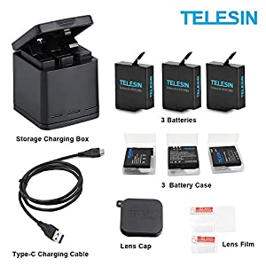 TELESIN 3-Pack Battery+3-Slots Storage Charger Box+3 Battery Case+Lens Cap Cover+Lens Film+Charging Cable Accessories Kit for GoPro Hero 7 Black Hero 2018 Hero 6 5 5 Black (1 Charger+3pcs Batteries)