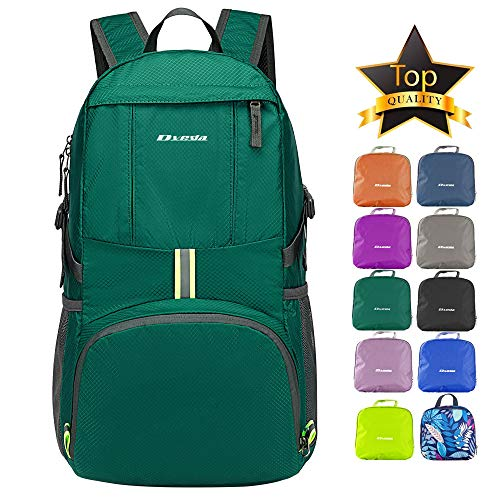 Dveda Ultra Lightweight Packable Backpack, 35L Large Capacity Water Resistant Hiking Daypack Foldable Travel Backpack for Men Women Outdoor,Green