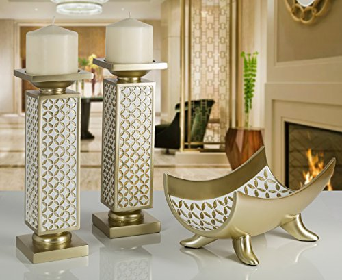 Schonwerk diamond lattice decorative pillar candle holders for Dining table centerpieces for sale