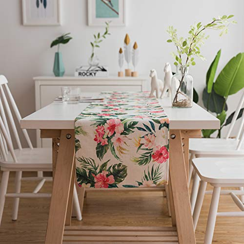 JOJUSIS Summer Flower Table Runner Machine Washable for Mother's Day, Valentine's Day or Everyday Use 14 x 70 Inch - Runner Flowers Table