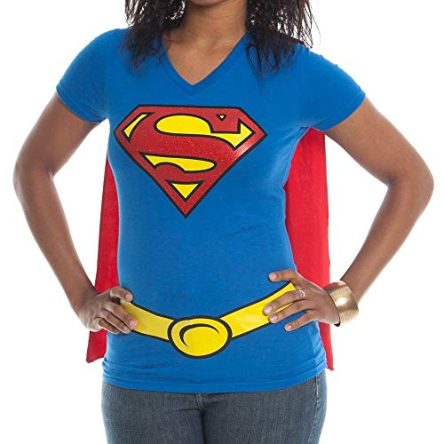 Superwoman Costumes For Women - Supergirl Juniors Royal V-neck Cape Tee