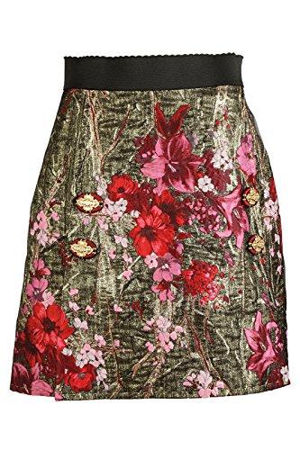 Dolce&Gabbana Women's Skirt Mini Short Jacquard Gold US Size 44 (US 32) F4AZNZFJM2ES8350 by Dolce & Gabbana