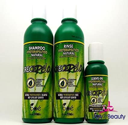 BOE Crece Pelo Shampoo 12oz + Rinse 12oz + Leave-In 4oz Combo Set for