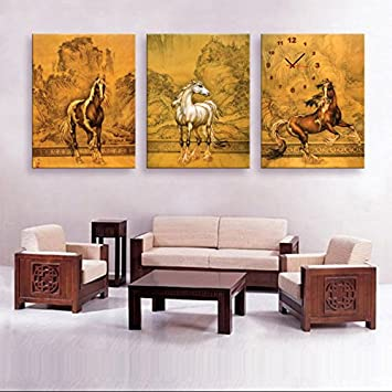Dekorative Wandbilder Wanduhr Frameless Kunst Pferd Diagramm Wohnzimmer  Leinwand Gemalt Wanduhr , 50*70