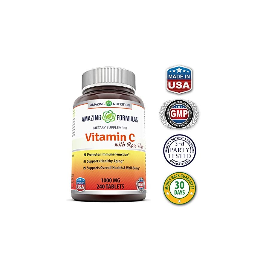 Amazing Nutrition Amazing Formulas Non GMO Vitamin C with Rose Hips * 240 Tablets * 1000mg Vitamin C with 62.50 mg of Rosehip fruit extract * Provides Immune Support, Antioxidant Support